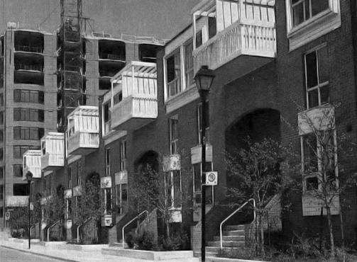 The two principle design elements of St Lawrence Neighbourhood: traditional, street-facing urban townhouses and mid-rise apartment blocks, taking shape c.1980. from Canadian Architect, June 1981