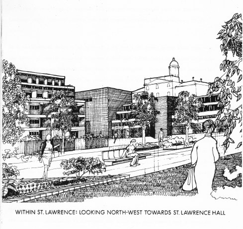 "Probably the first depiction of St Lawrence Neighbourhood – a conceptual sketch done by an unnamed person in the City Housing Department, included in that department's typescript report ""St. Lawrence: A New Neighbourhood for Toronto"", 22 May 1974."