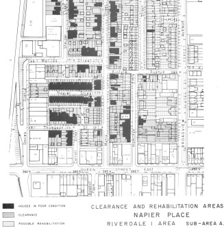 Detail from renewal plan showing areas to be cleared and areas to be rehabilitated.