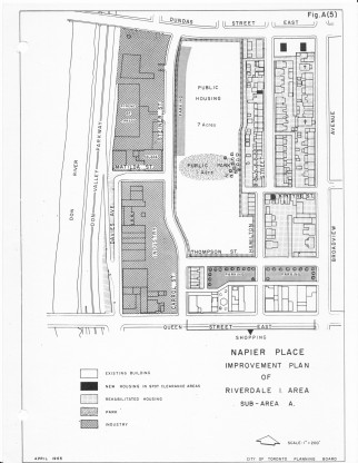 Napier Place renewal plan, 1965, with public housing slated for the cleared-out central portion.
