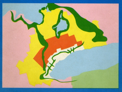 "Cover of the 1970 provincial government report proposing the ""Toronto-Centred Region"" planning concept. It envisioned three zones: urban (white) where development would be constrained, rural (orange) where it would be prohibited, and peripheral (yellow) where it would be fostered. It also proposed large stretches of protected natural lands, including a ""Parkway Belt"" that would bisect (not limit, as is often stated) the urban zone."