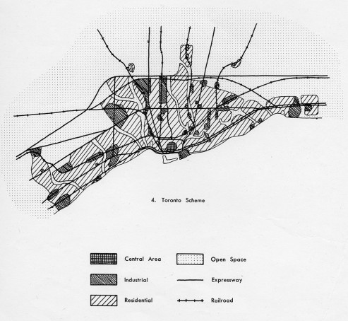 A schematic drawing of the proposed form of the Toronto metropolitan area, from the preliminary pages of the 1959 plan. Unlike almost all other postwar metropolitan plans, Toronto would have no satellite towns; all urban development was to be contiguous. Source: The Official Plan of the Metropolitan Toronto Planning Area (Toronto, 1959)